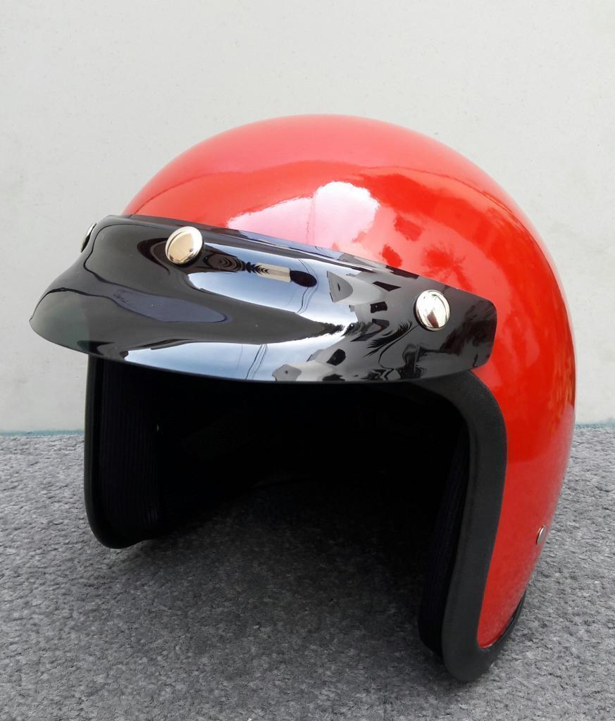 Casco Tipo Vespa C09 Color Rojo Abierto